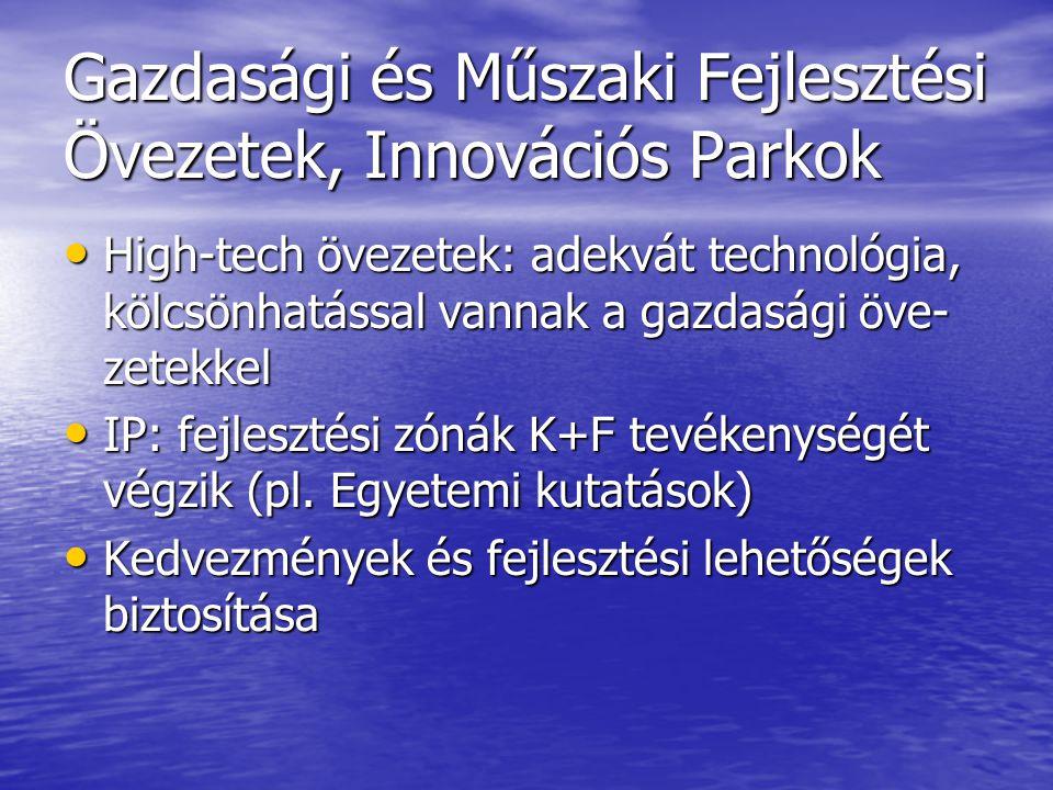 Gazdasági és Műszaki Fejlesztési Övezetek, Innovációs Parkok High-tech övezetek: adekvát technológia, kölcsönhatással vannak a gazdasági öve- zetekkel High-tech övezetek: adekvát technológia, kölcsönhatással vannak a gazdasági öve- zetekkel IP: fejlesztési zónák K+F tevékenységét végzik (pl.