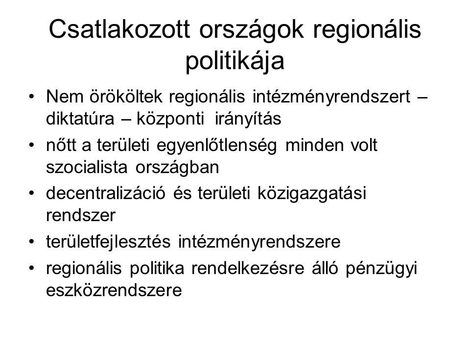 Csatlakozott országok regionális politikája Nem örököltek regionális intézményrendszert – diktatúra – központi irányítás nőtt a területi egyenlőtlenség minden volt szocialista országban decentralizáció és területi közigazgatási rendszer területfejlesztés intézményrendszere regionális politika rendelkezésre álló pénzügyi eszközrendszere