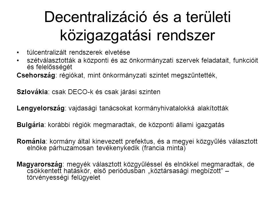 """Decentralizáció és a területi közigazgatási rendszer túlcentralizált rendszerek elvetése szétválasztották a központi és az önkormányzati szervek feladatait, funkcióit és felelősségét Csehország: régiókat, mint önkormányzati szintet megszűntették, Szlovákia: csak DECO-k és csak járási szinten Lengyelország: vajdasági tanácsokat kormányhivatalokká alakították Bulgária: korábbi régiók megmaradtak, de központi állami igazgatás Románia: kormány által kinevezett prefektus, és a megyei közgyűlés választott elnöke párhuzamosan tevékenykedik (francia minta) Magyarország: megyék választott közgyűléssel és elnökkel megmaradtak, de csökkentett hatáskör, első periódusban """"köztársasági megbízott – törvényességi felügyelet"""