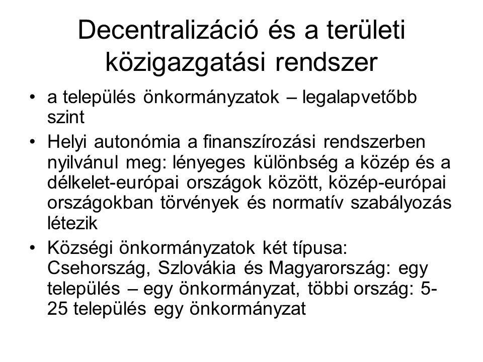 Decentralizáció és a területi közigazgatási rendszer a település önkormányzatok – legalapvetőbb szint Helyi autonómia a finanszírozási rendszerben nyilvánul meg: lényeges különbség a közép és a délkelet-európai országok között, közép-európai országokban törvények és normatív szabályozás létezik Községi önkormányzatok két típusa: Csehország, Szlovákia és Magyarország: egy település – egy önkormányzat, többi ország: 5- 25 település egy önkormányzat