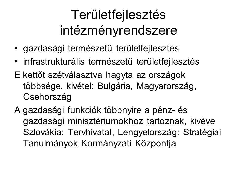 Területfejlesztés intézményrendszere gazdasági természetű területfejlesztés infrastrukturális természetű területfejlesztés E kettőt szétválasztva hagyta az országok többsége, kivétel: Bulgária, Magyarország, Csehország A gazdasági funkciók többnyire a pénz- és gazdasági minisztériumokhoz tartoznak, kivéve Szlovákia: Tervhivatal, Lengyelország: Stratégiai Tanulmányok Kormányzati Központja
