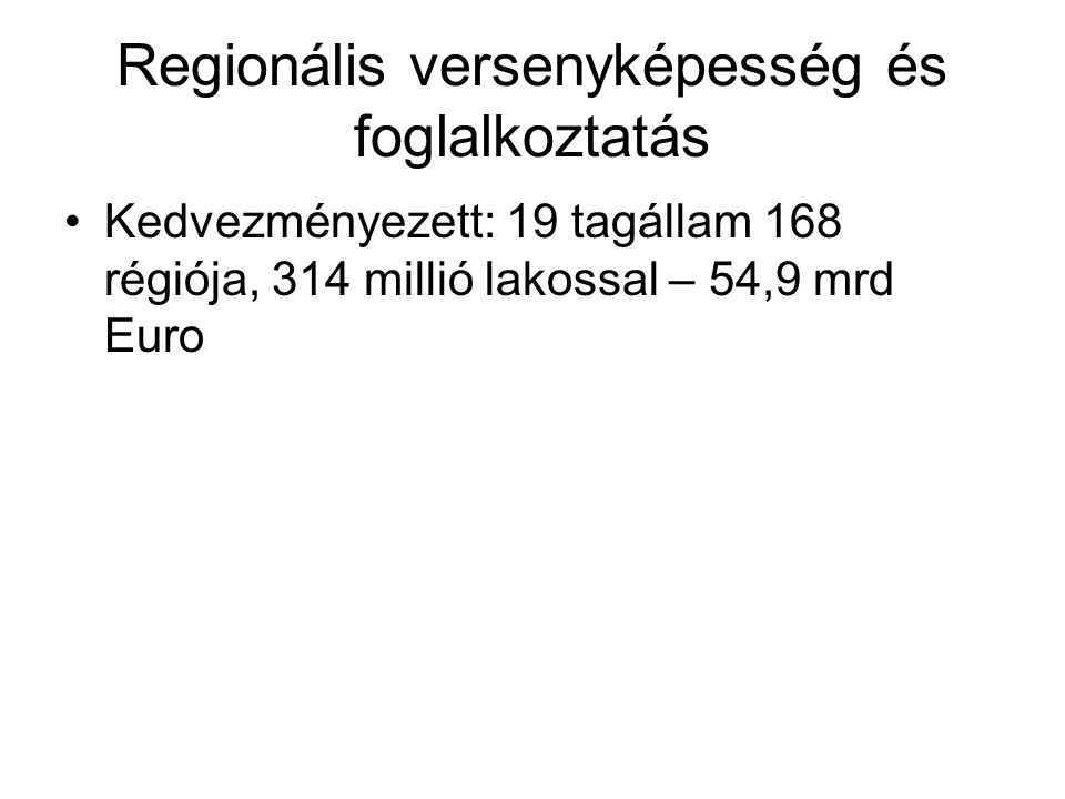 Regionális versenyképesség és foglalkoztatás Kedvezményezett: 19 tagállam 168 régiója, 314 millió lakossal – 54,9 mrd Euro