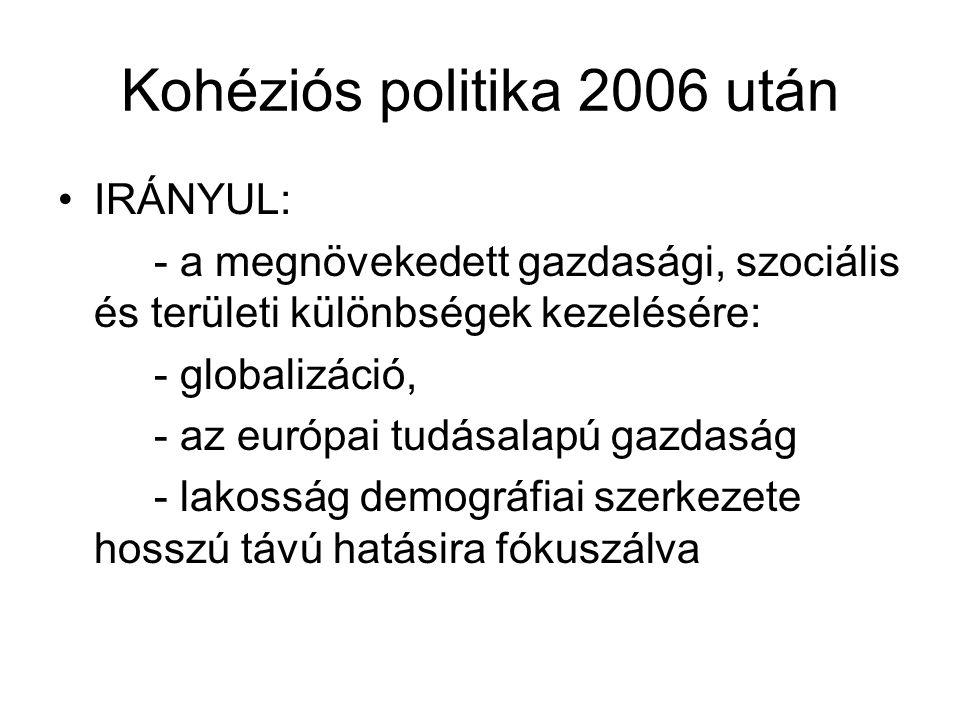Kohéziós politika 2006 után IRÁNYUL: - a megnövekedett gazdasági, szociális és területi különbségek kezelésére: - globalizáció, - az európai tudásalapú gazdaság - lakosság demográfiai szerkezete hosszú távú hatásira fókuszálva