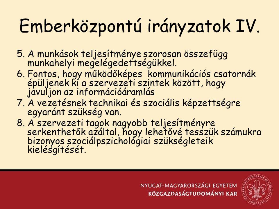 Emberközpontú irányzatok IV.5.