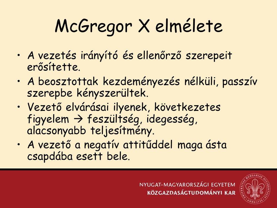 McGregor X elmélete A vezetés irányító és ellenőrző szerepeit erősítette.