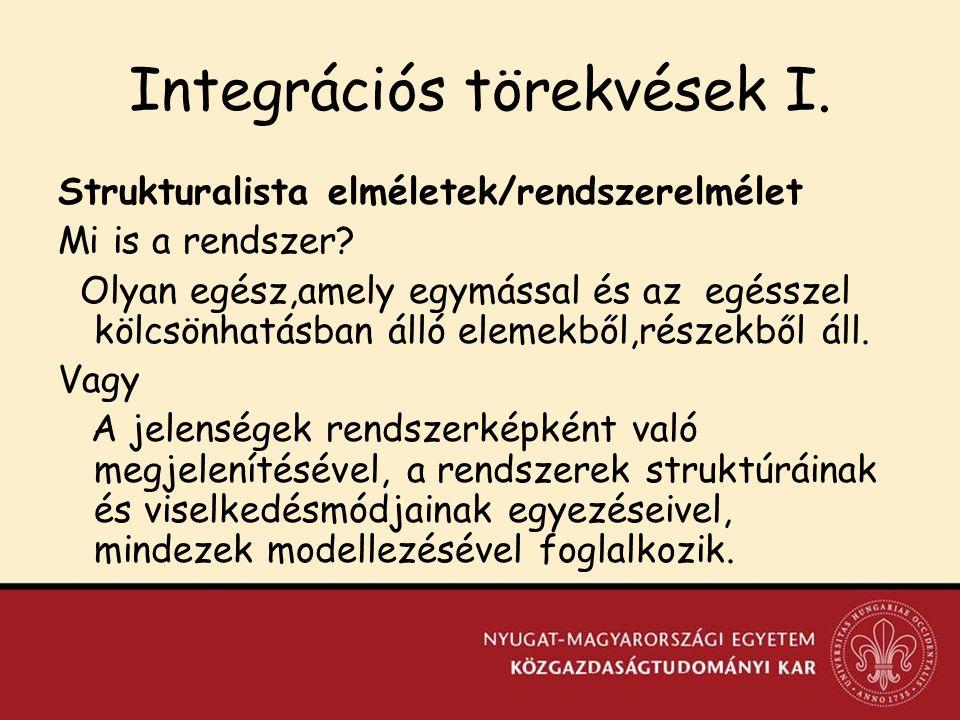 Integrációs törekvések I.Strukturalista elméletek/rendszerelmélet Mi is a rendszer.