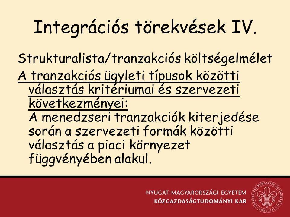 Integrációs törekvések IV.