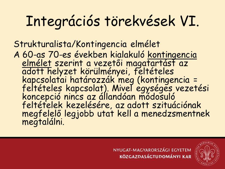 Integrációs törekvések VI.