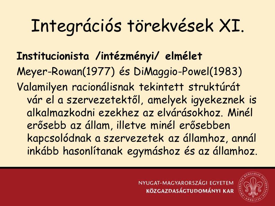 Integrációs törekvések XI.