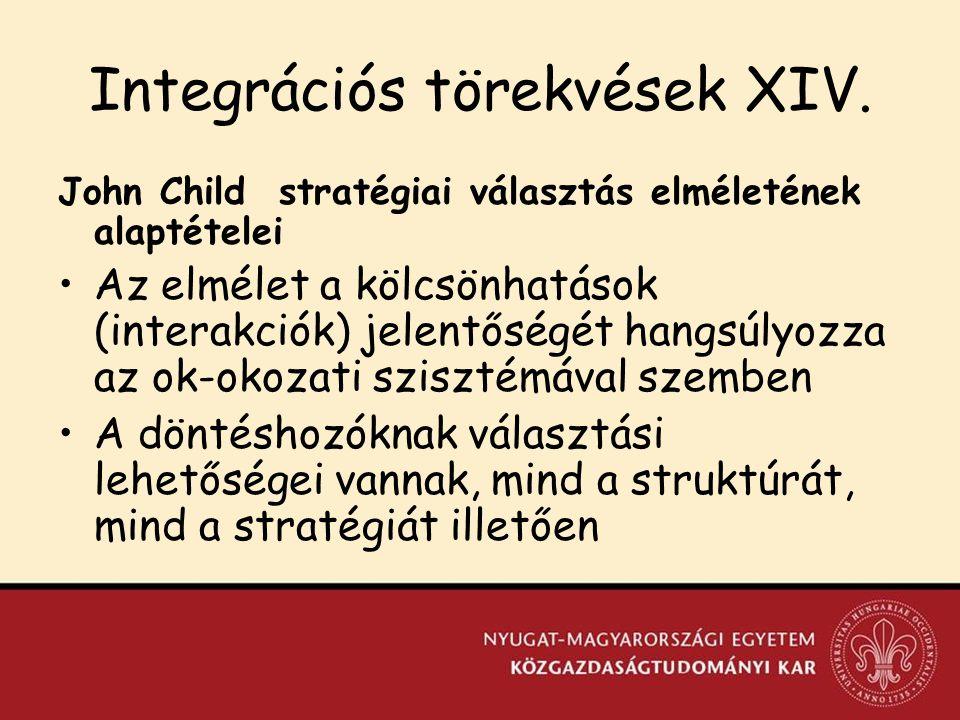 Integrációs törekvések XIV.