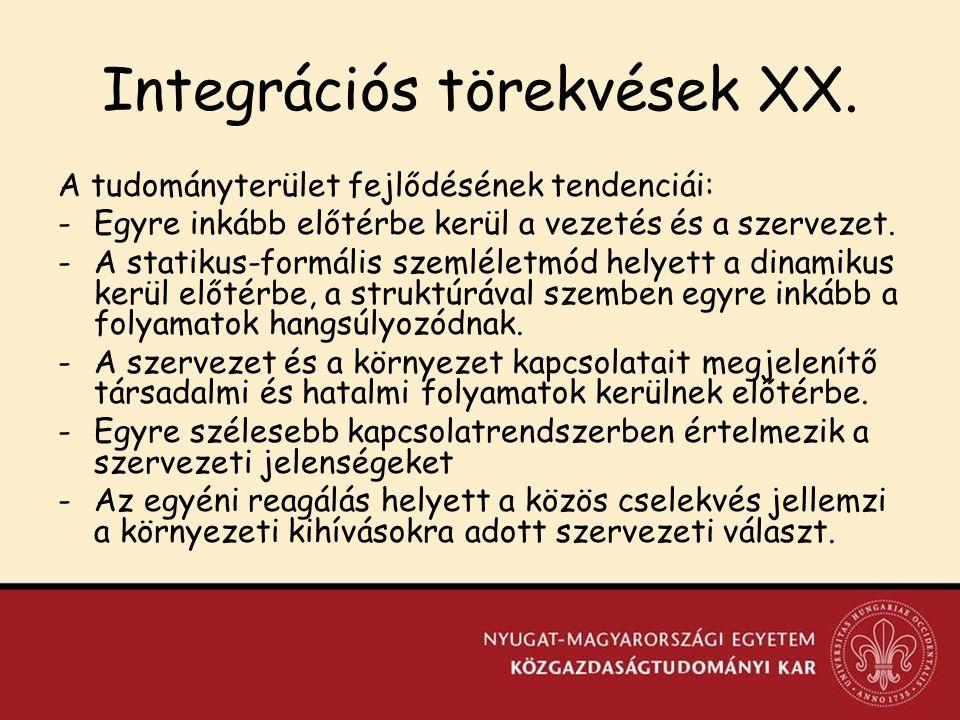 Integrációs törekvések XX.