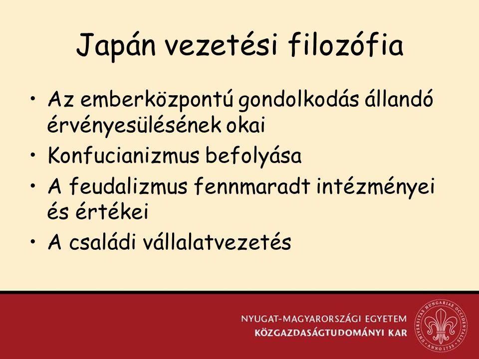 Japán vezetési filozófia Az emberközpontú gondolkodás állandó érvényesülésének okai Konfucianizmus befolyása A feudalizmus fennmaradt intézményei és értékei A családi vállalatvezetés