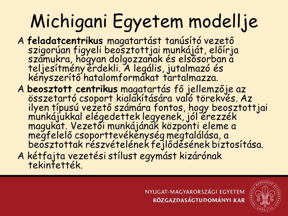 Michigani Egyetem modellje A feladatcentrikus magatartást tanúsító vezető szigorúan figyeli beosztottjai munkáját, előírja számukra, hogyan dolgozzanak és elsősorban a teljesítmény érdekli.