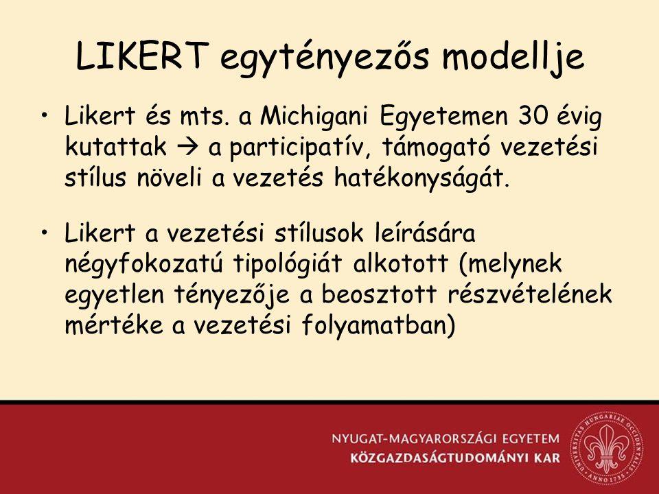 LIKERT egytényezős modellje Likert és mts.