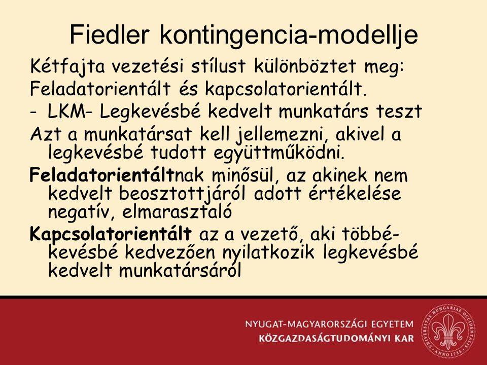 Fiedler kontingencia-modellje Kétfajta vezetési stílust különböztet meg: Feladatorientált és kapcsolatorientált.