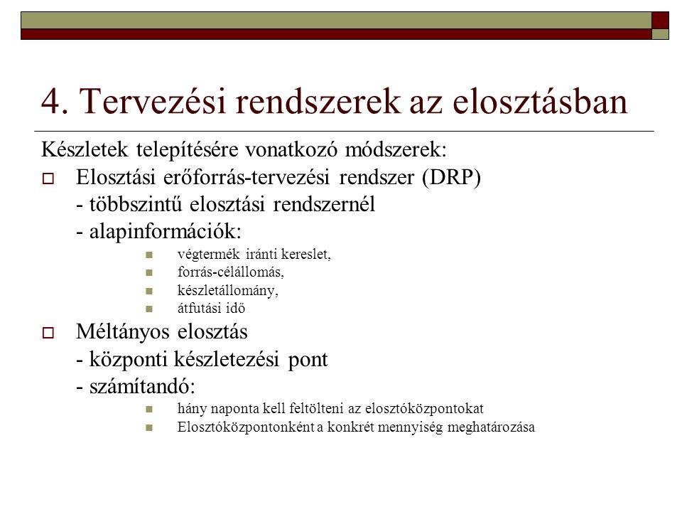 4. Tervezési rendszerek az elosztásban Készletek telepítésére vonatkozó módszerek:  Elosztási erőforrás-tervezési rendszer (DRP) - többszintű elosztá