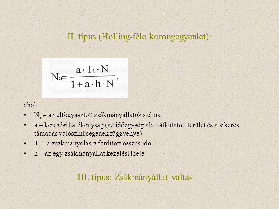 II. típus (Holling-féle korongegyenlet): ahol, N a – az elfogyasztott zsákmányállatok száma a – keresési hatékonyság (az időegység alatt átkutatott te