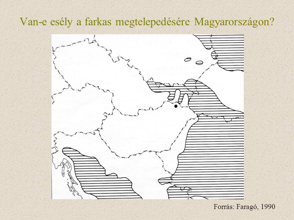 Van-e esély a farkas megtelepedésére Magyarországon? Forrás: Faragó, 1990