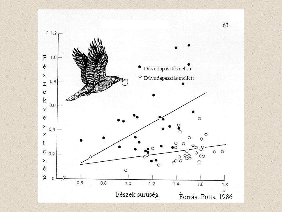 Dúvadapasztás nélkül Dúvadapasztás mellett Fészek sűrűség FészekveszteségFészekveszteség Forrás: Potts, 1986