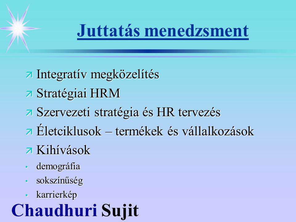 Chaudhuri Sujit Juttatás menedzsment ä Integratív megközelítés ä Stratégiai HRM ä Szervezeti stratégia és HR tervezés ä Életciklusok – termékek és vállalkozások ä Kihívások demográfia demográfia sokszínűség sokszínűség karrierkép karrierkép