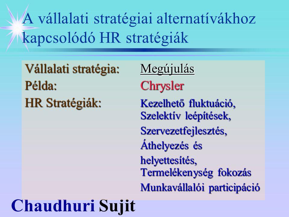 Chaudhuri Sujit Vállalati stratégia:Megújulás Példa:Chrysler HR Stratégiák: Kezelhető fluktuáció, Szelektív leépítések, Szervezetfejlesztés, Áthelyezés és helyettesítés, Termelékenység fokozás Munkavállalói participáció A vállalati stratégiai alternatívákhoz kapcsolódó HR stratégiák