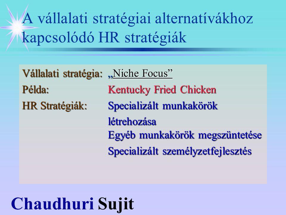 """Chaudhuri Sujit Vállalati stratégia:""""Niche Focus Példa:Kentucky Fried Chicken HR Stratégiák:Specializált munkakörök létrehozása Egyéb munkakörök megszüntetése Specializált személyzetfejlesztés A vállalati stratégiai alternatívákhoz kapcsolódó HR stratégiák"""