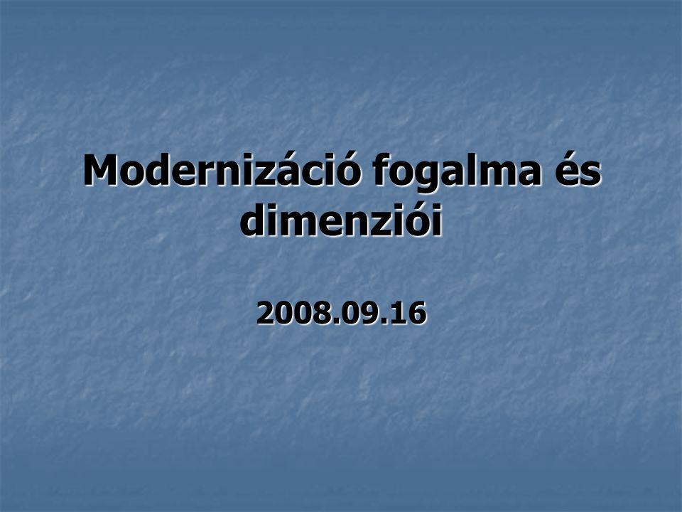 Modernizáció fogalma és dimenziói 2008.09.16