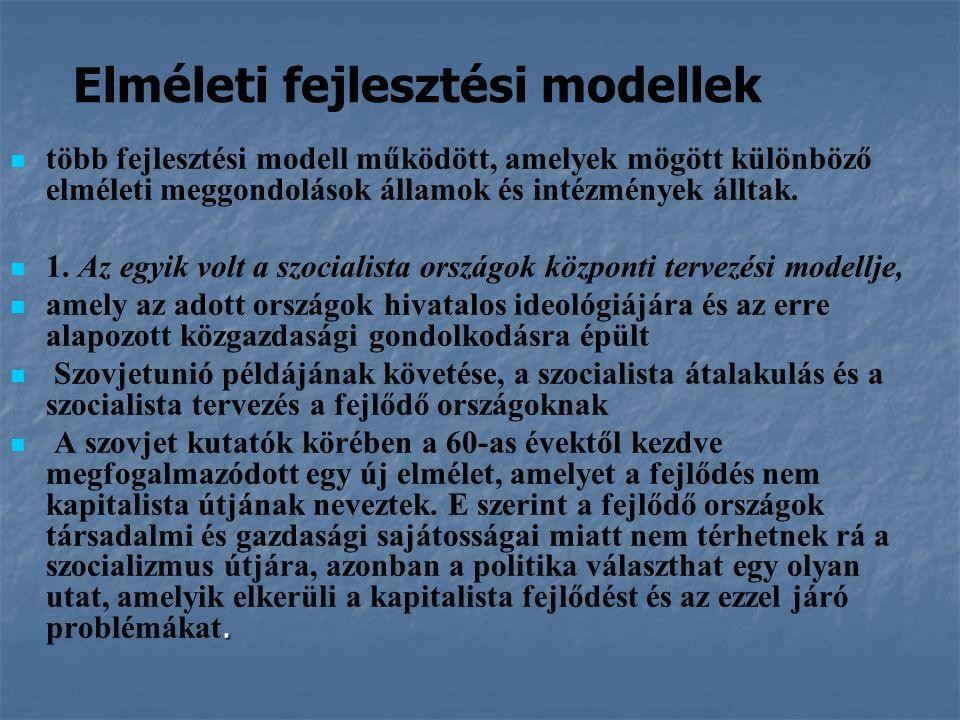 Elméleti fejlesztési modellek több fejlesztési modell működött, amelyek mögött különböző elméleti meggondolások államok és intézmények álltak. 1. Az e