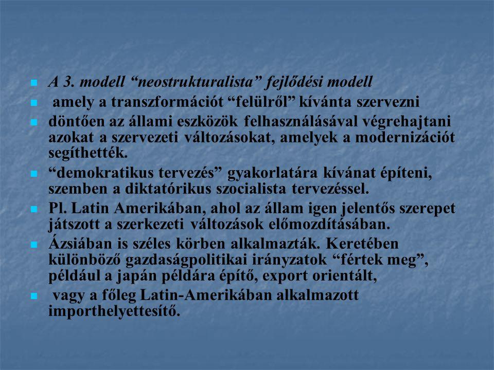 """A 3. modell """"neostrukturalista"""" fejlődési modell amely a transzformációt """"felülről"""" kívánta szervezni döntően az állami eszközök felhasználásával végr"""