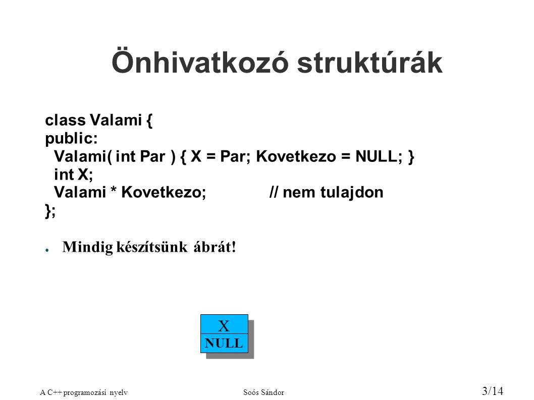 A C++ programozási nyelvSoós Sándor 3/14 Önhivatkozó struktúrák class Valami { public: Valami( int Par ) { X = Par; Kovetkezo = NULL; } int X; Valami * Kovetkezo;// nem tulajdon }; ● Mindig készítsünk ábrát.