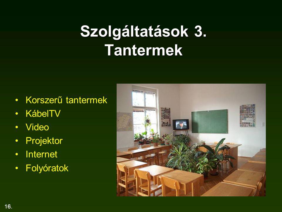 16. Szolgáltatások 3. Tantermek Korszerű tantermek KábelTV Video Projektor Internet Folyóratok