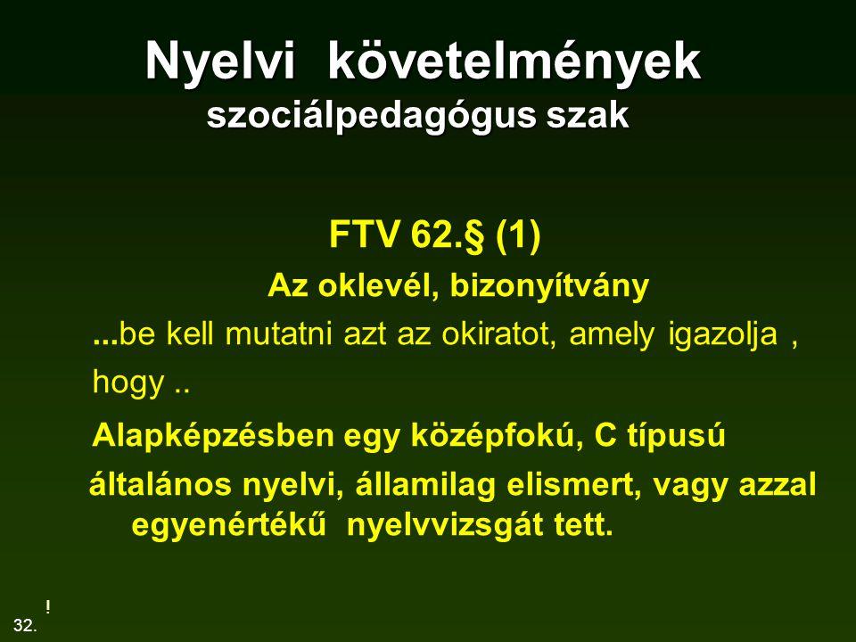 32. Nyelvi követelmények szociálpedagógus szak Nyelvi követelmények szociálpedagógus szak FTV 62.§ (1) Az oklevél, bizonyítvány...be kell mutatni azt