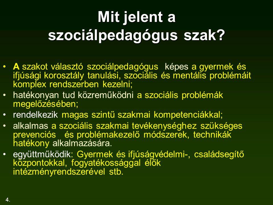 4. Mit jelent a szociálpedagógus szak? A szakot választó szociálpedagógus képes a gyermek és ifjúsági korosztály tanulási, szociális és mentális probl