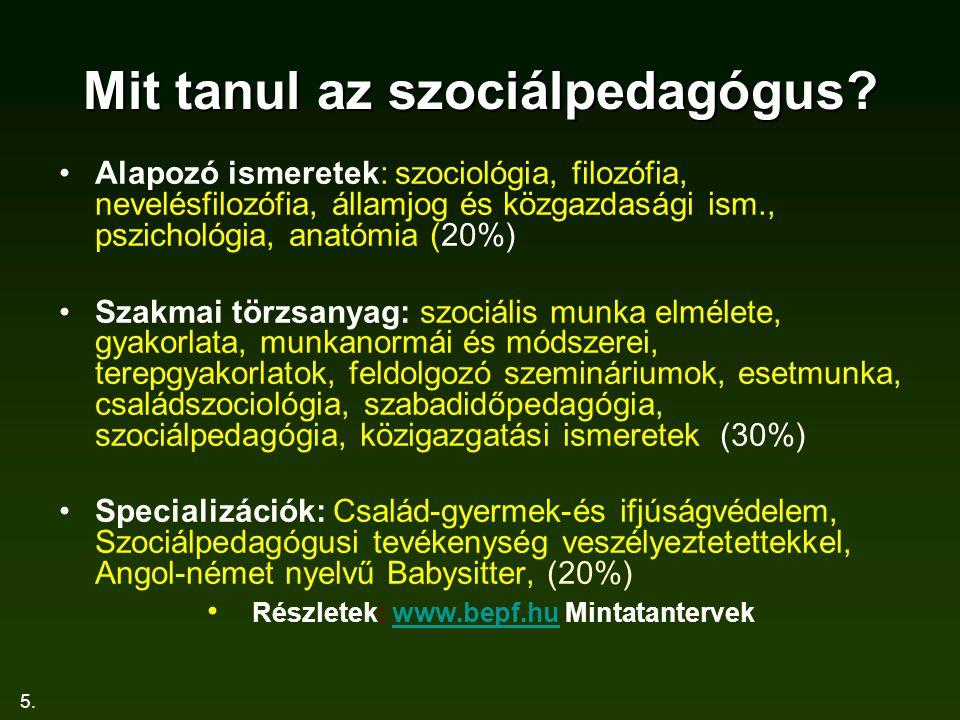 5. Mit tanul az szociálpedagógus? Alapozó ismeretek: szociológia, filozófia, nevelésfilozófia, államjog és közgazdasági ism., pszichológia, anatómia (