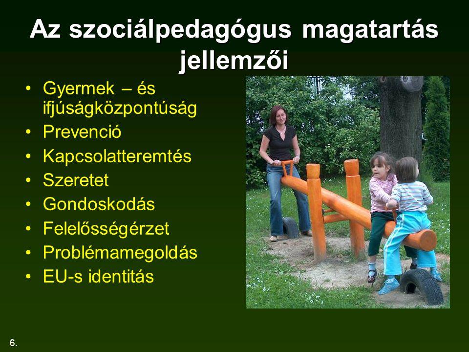 6. Az szociálpedagógus magatartás jellemzői Gyermek – és ifjúságközpontúság Prevenció Kapcsolatteremtés Szeretet Gondoskodás Felelősségérzet Problémam