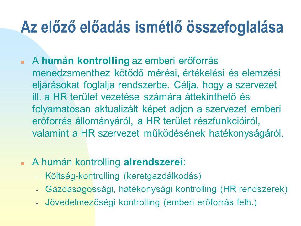 Az előző előadás ismétlő összefoglalása n A humán kontrolling az emberi erőforrás menedzsmenthez kötődő mérési, értékelési és elemzési eljárásokat fog