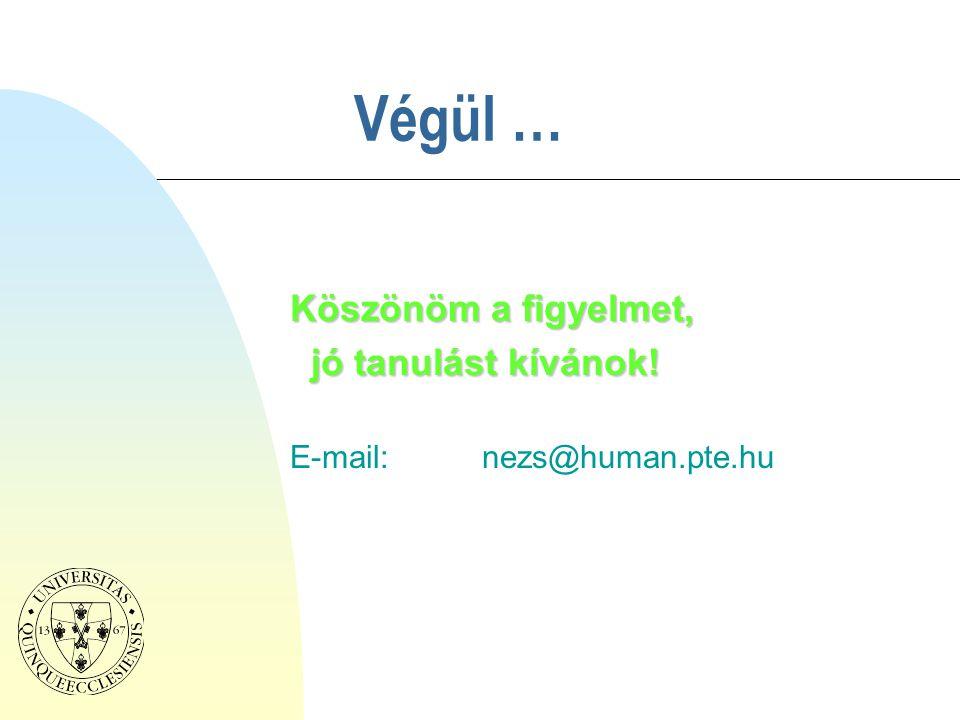 Végül … Köszönöm a figyelmet, jó tanulást kívánok! jó tanulást kívánok! E-mail:nezs@human.pte.hu