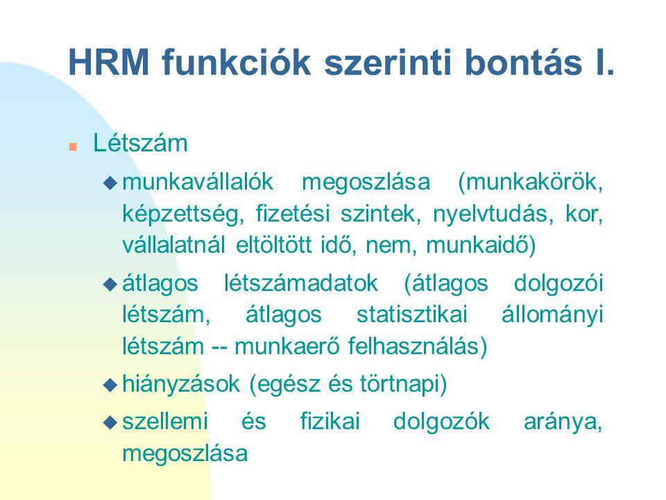HRM funkciók szerinti bontás I. n Létszám u munkavállalók megoszlása (munkakörök, képzettség, fizetési szintek, nyelvtudás, kor, vállalatnál eltöltött