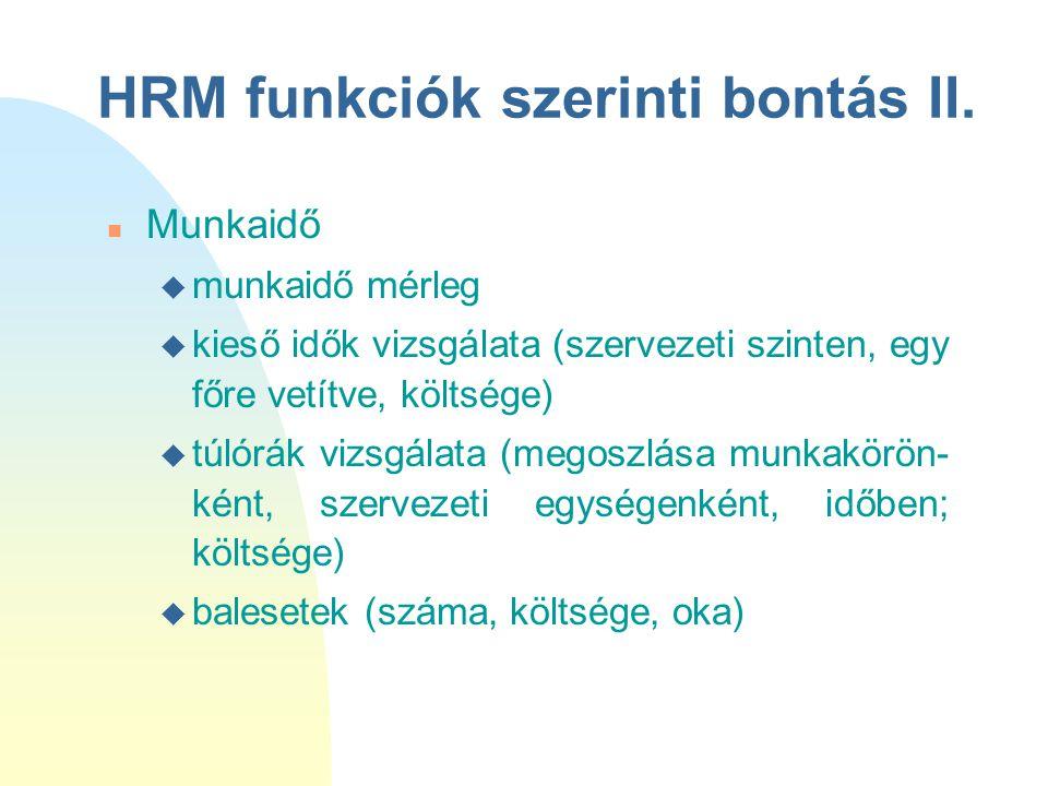 HRM funkciók szerinti bontás II. n Munkaidő u munkaidő mérleg u kieső idők vizsgálata (szervezeti szinten, egy főre vetítve, költsége) u túlórák vizsg