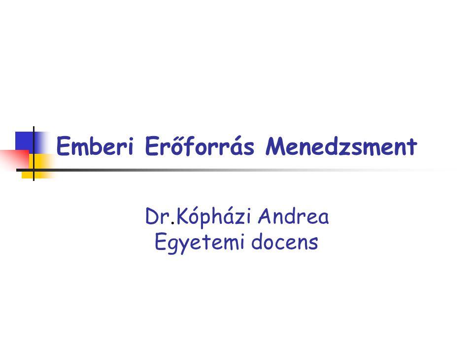 Emberi Erőforrás Menedzsment Dr.Kópházi Andrea Egyetemi docens