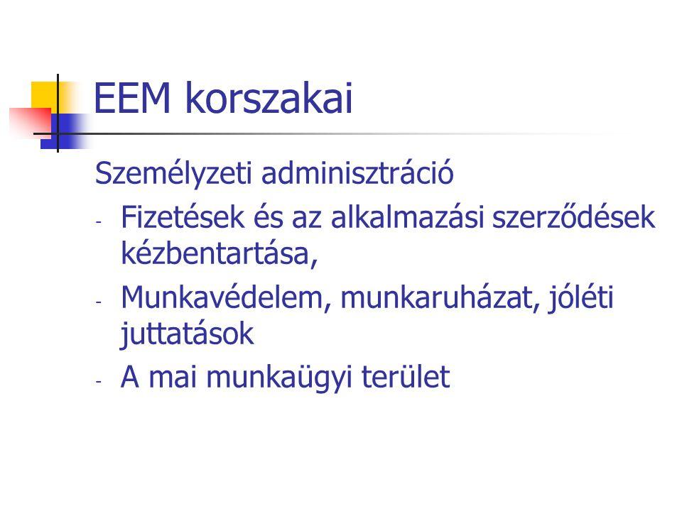EEM korszakai Személyzeti adminisztráció - Fizetések és az alkalmazási szerződések kézbentartása, - Munkavédelem, munkaruházat, jóléti juttatások - A