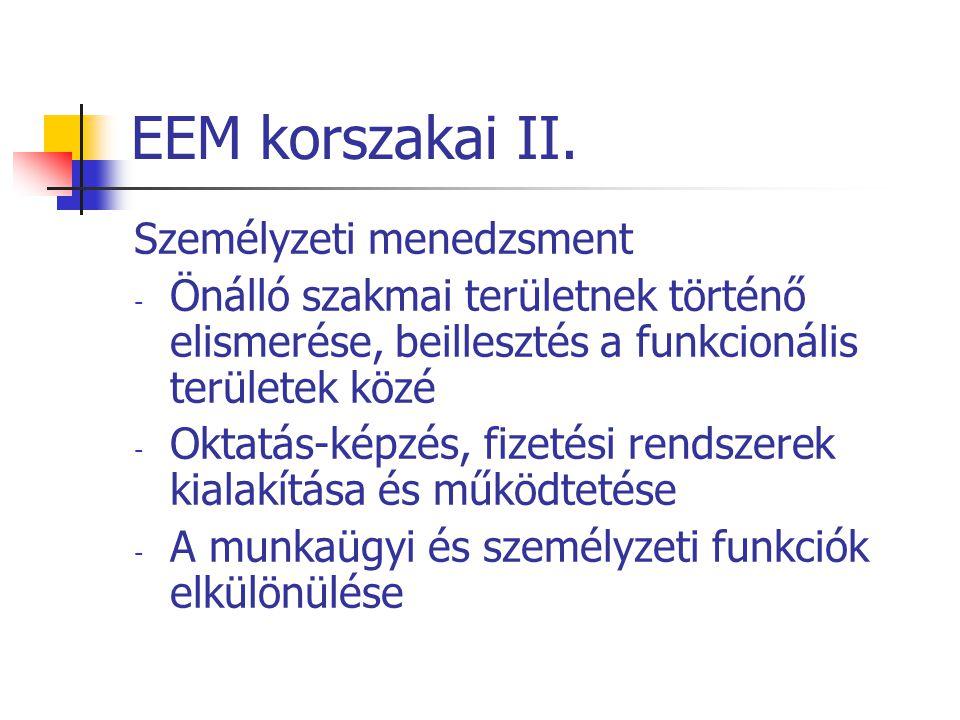 EEM korszakai II. Személyzeti menedzsment - Önálló szakmai területnek történő elismerése, beillesztés a funkcionális területek közé - Oktatás-képzés,