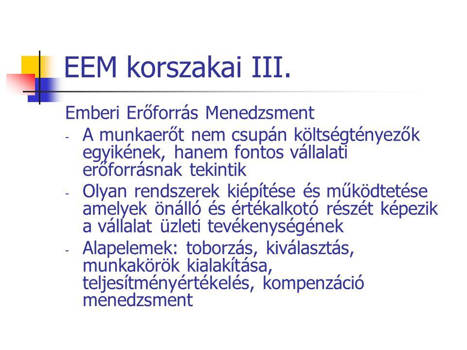 EEM korszakai III. Emberi Erőforrás Menedzsment - A munkaerőt nem csupán költségtényezők egyikének, hanem fontos vállalati erőforrásnak tekintik - Oly
