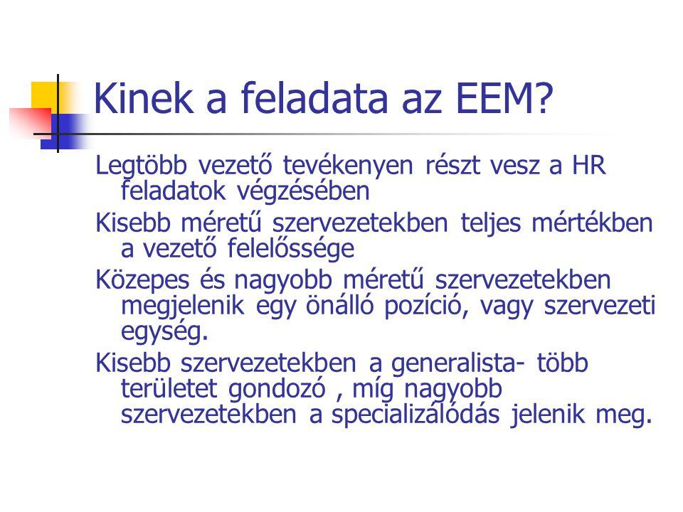 Kinek a feladata az EEM? Legtöbb vezető tevékenyen részt vesz a HR feladatok végzésében Kisebb méretű szervezetekben teljes mértékben a vezető felelős