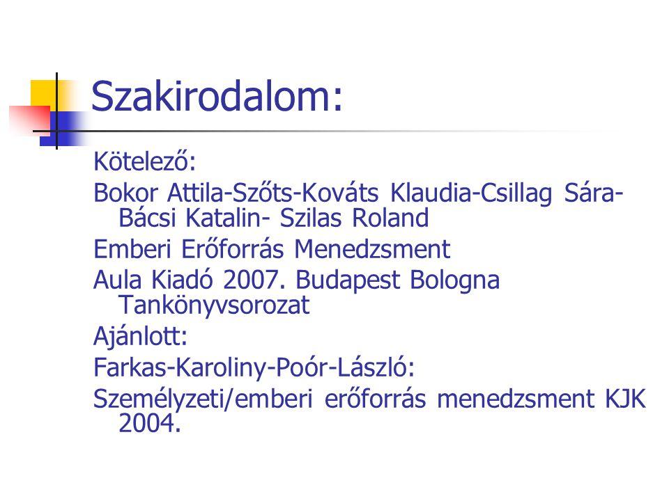 Szakirodalom: Kötelező: Bokor Attila-Szőts-Kováts Klaudia-Csillag Sára- Bácsi Katalin- Szilas Roland Emberi Erőforrás Menedzsment Aula Kiadó 2007. Bud