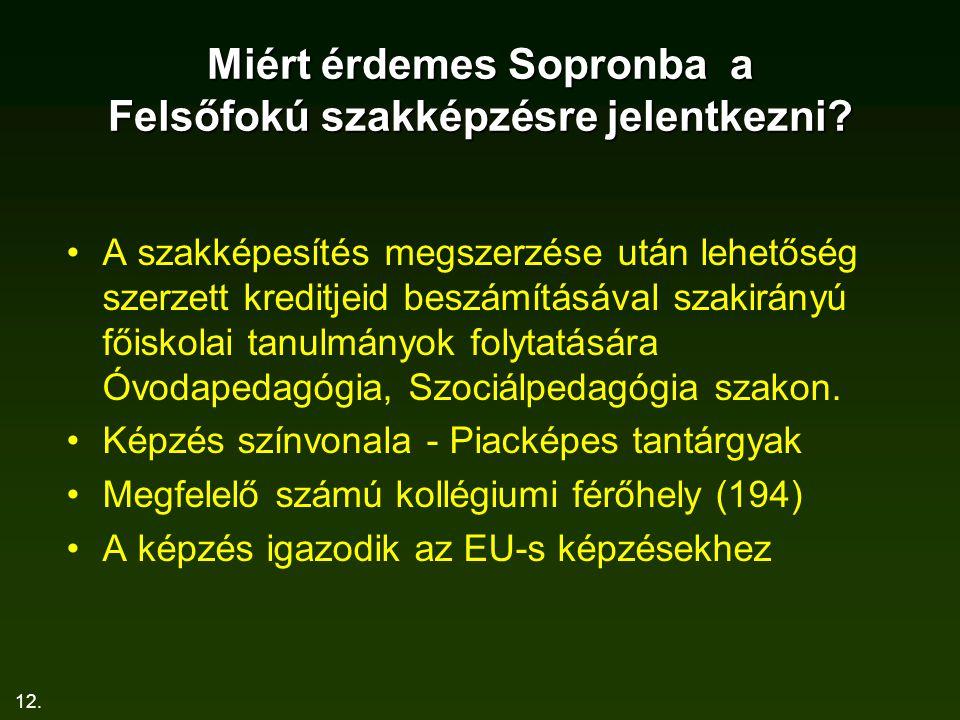 12.Miért érdemes Sopronba a Felsőfokú szakképzésre jelentkezni.