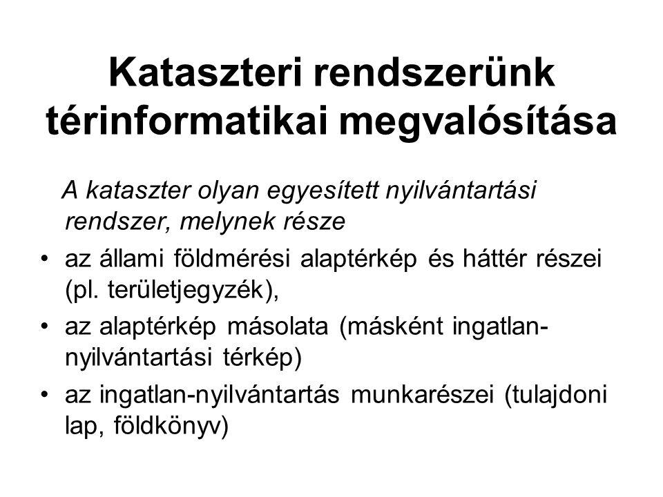 Kataszteri rendszerünk térinformatikai megvalósítása A kataszter olyan egyesített nyilvántartási rendszer, melynek része az állami földmérési alaptérkép és háttér részei (pl.