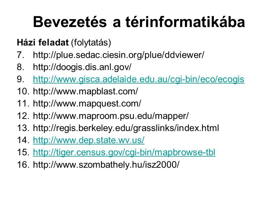 Bevezetés a térinformatikába Házi feladat (folytatás) 7.http://plue.sedac.ciesin.org/plue/ddviewer/ 8.http://doogis.dis.anl.gov/ 9.http://www.gisca.adelaide.edu.au/cgi-bin/eco/ecogishttp://www.gisca.adelaide.edu.au/cgi-bin/eco/ecogis 10.http://www.mapblast.com/ 11.http://www.mapquest.com/ 12.http://www.maproom.psu.edu/mapper/ 13.http://regis.berkeley.edu/grasslinks/index.html 14.http://www.dep.state.wv.us/http://www.dep.state.wv.us/ 15.http://tiger.census.gov/cgi-bin/mapbrowse-tblhttp://tiger.census.gov/cgi-bin/mapbrowse-tbl 16.http://www.szombathely.hu/isz2000/