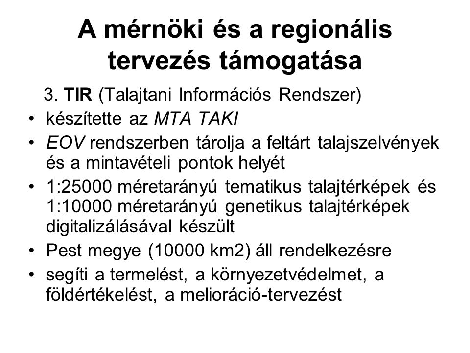 A mérnöki és a regionális tervezés támogatása 3.