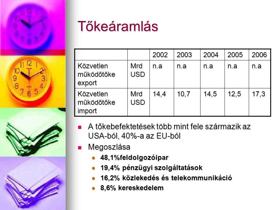 Tőkeáramlás 20022003200420052006 Közvetlen működőtőke export Mrd USD n.an.an.an.an.a Közvetlen működőtőke import Mrd USD 14,410,714,512,517,3 A tőkebe